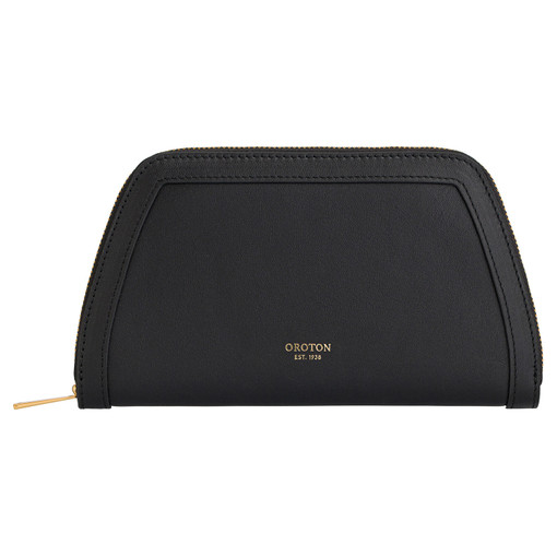 Oroton Camille Medium Tapered Wallet in Black and Smooth Leather for female