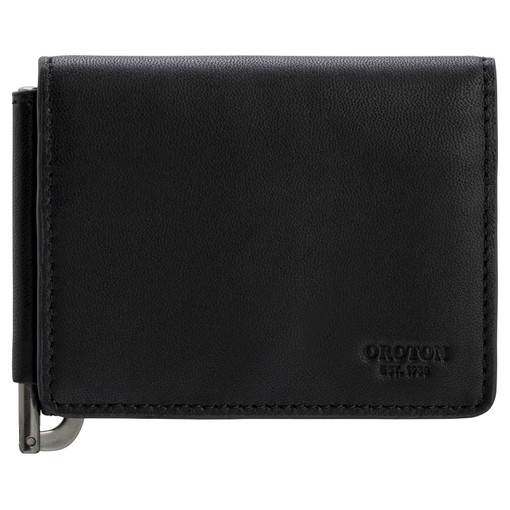 Oroton Oliver Money Clip Wallet in Black and Smooth Nappa Leather for male
