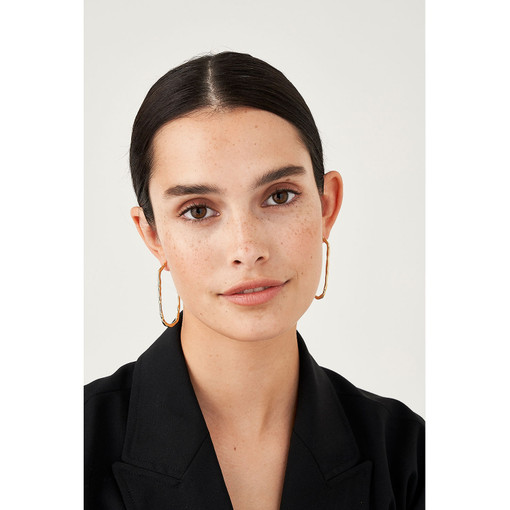 Oroton Aspen Medium Hoops in Gold and Brass Base Metal With Precious Metal Plating for female