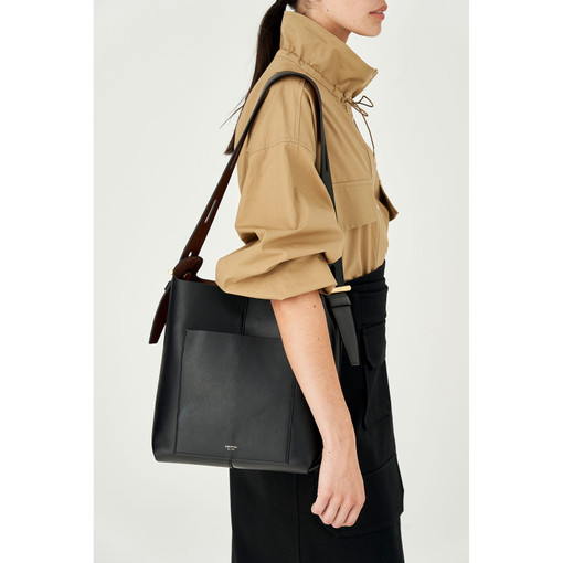 Oroton Cleo Hobo in Black and Soft Smooth Leather for female
