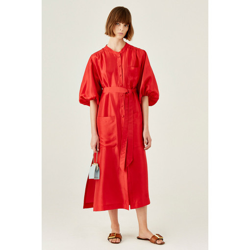 Oroton Silk Full Sleeve Column Dress in Rouge and 100% Silk for female