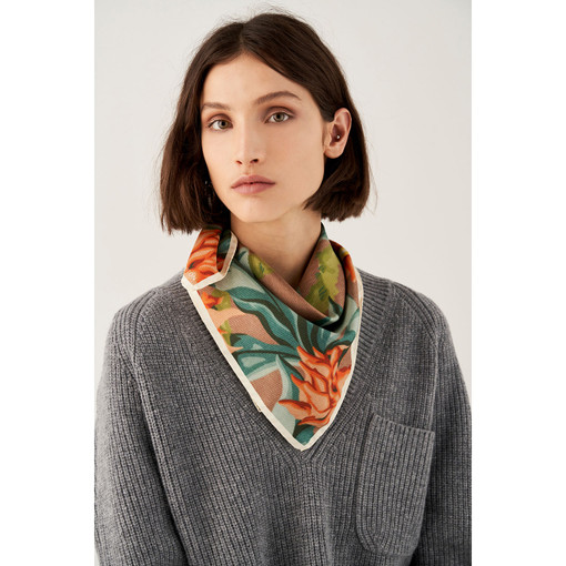 Oroton Shadow Floral Scarf in Teal and 100% Silk for female