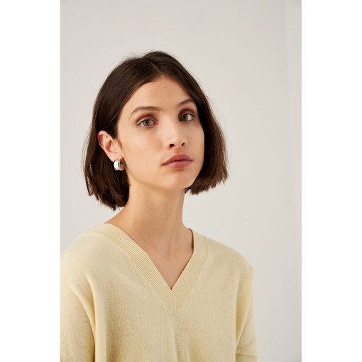 Oroton Emaille Wide Hoops in Silver and Brass Based With Precious Metal Plating for female