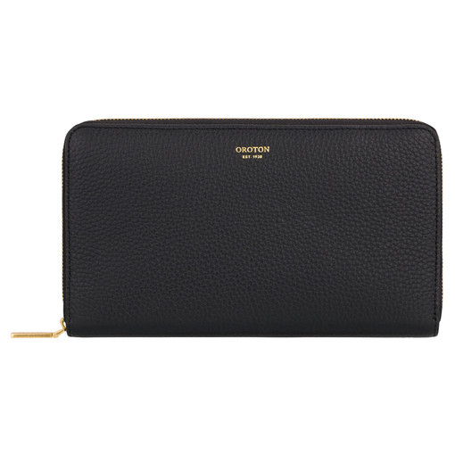 Oroton Lyla Large Multi Pocket Zip Around Wallet in Black and Pebble Leather for female