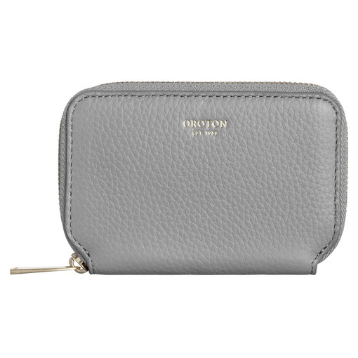 Oroton Lyla Mini 7 Credit Card Zip Wallet in Quartz and Pebble Leather for female