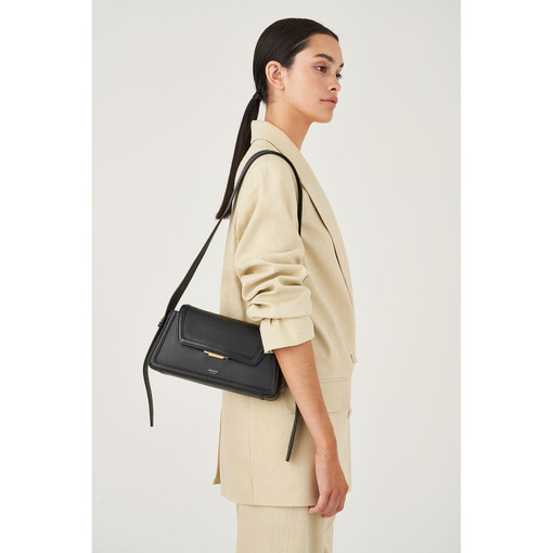 Oroton Camille Baguette Bag in Black and Smooth Leather for female