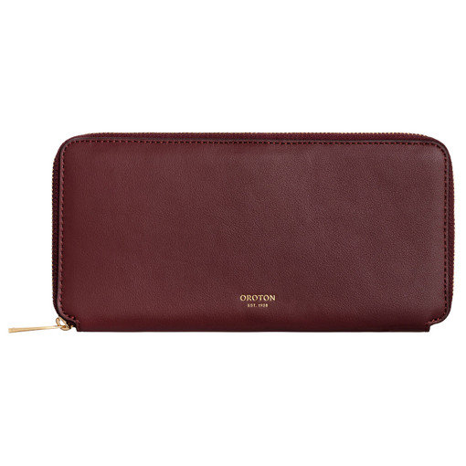 Oroton Cleo Slim Book Wallet in Mahogany and Soft Smooth Leather for female