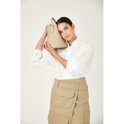 Oroton Mila Bucket Bag in Flint and Pebble Leather/Smooth Leather for female
