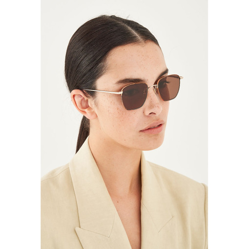 Oroton Wren Sunglasses in Gold Mix/Brown and Metal for female