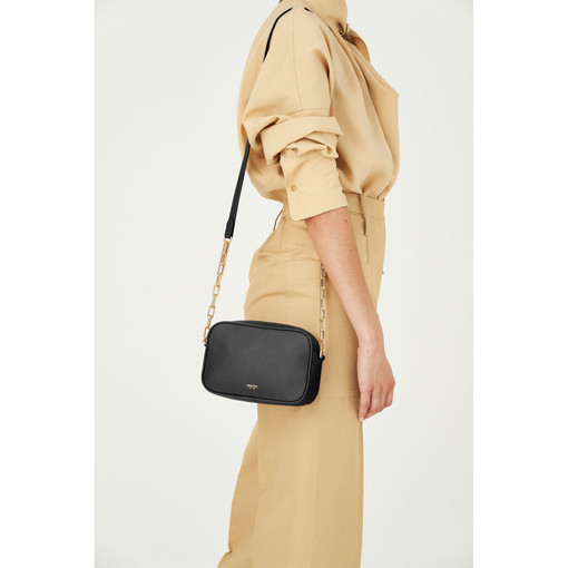 Oroton Anouk Chain Crossbody in Black and Pebble Leather for female