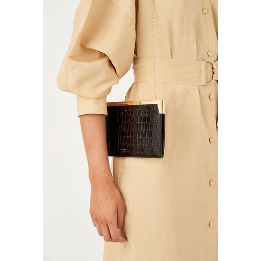 Oroton Yvette Texture Long Clutch in Chocolate Texture and null for female