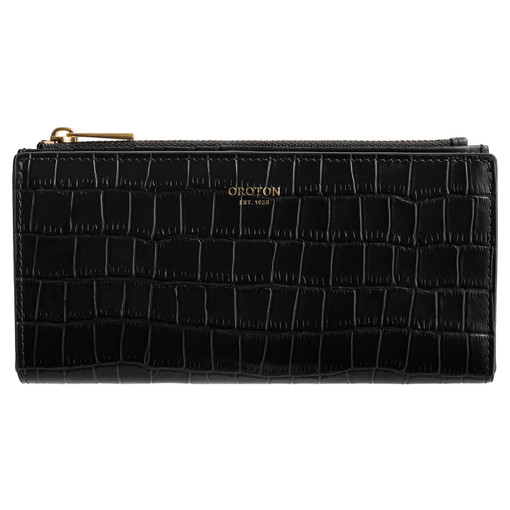 Oroton Muse Texture Slim Zip Wallet in Black Texture and Leather for female