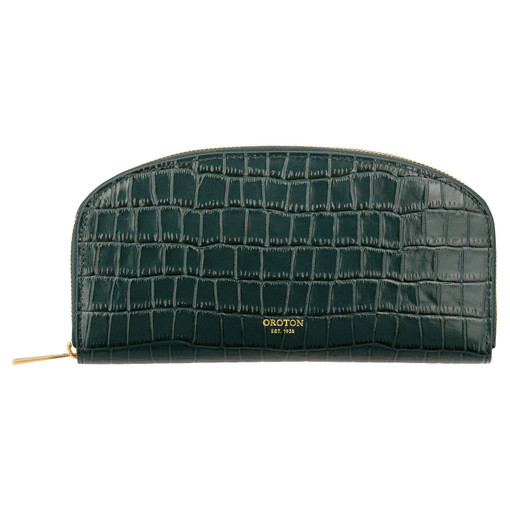 Oroton Sylvie Texture Large Arc Wallet in Dark Liquorice Texture and Croc Emboss Leather/Smooth Leather for female