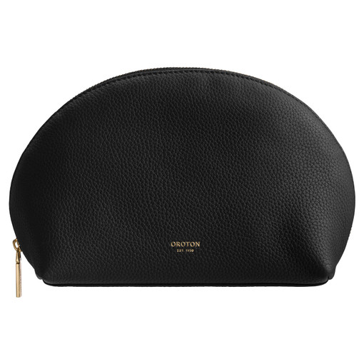 Oroton Duo Medium Beauty Case in Black and Pebble Leather for female