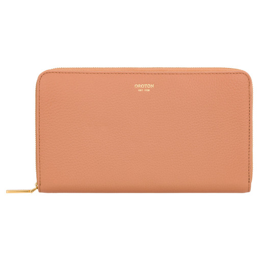 Oroton Lyla Large Multi Pocket Zip Around Wallet in Treacle and Pebble Leather for female
