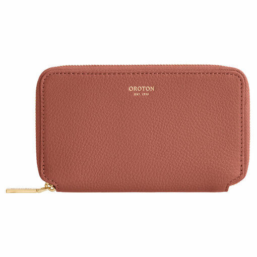 Oroton Duo Mini Book Wallet in Deco Rose and Pebble Leather for female