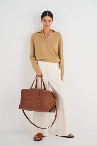 Oroton Margot Weekender in Whiskey and Pebble Leather for female