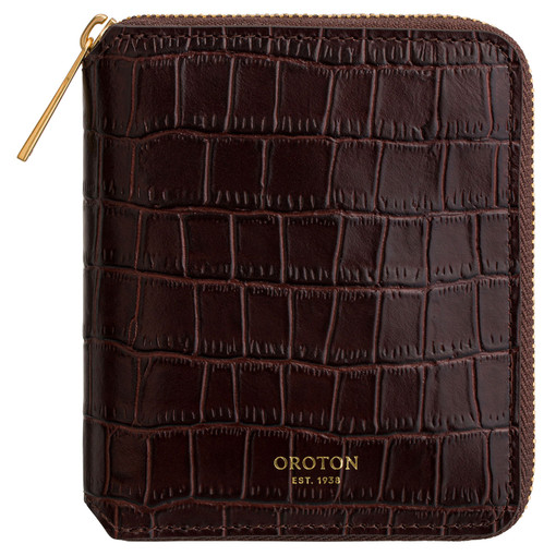 Oroton Muse Texture Small Zip Wallet in Walnut Texture and Croc Effect Leather for female