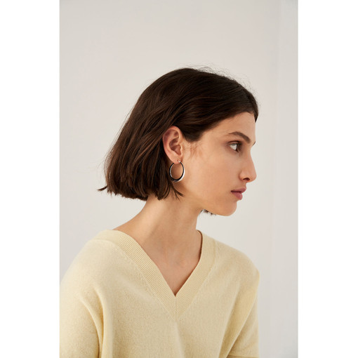 Oroton Emaille Large Fine Hoops in Silver and Brass Based With Precious Metal Plating for female