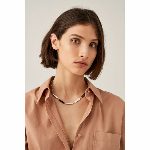 Oroton Nova Necklace in Silver and Brass Based With Precious Metal Plating for female