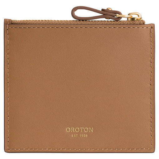 Oroton Frida 3 Credit Card Zip Pouch in Dark Rye and Smooth Leather for female
