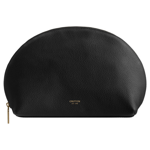 Oroton Duo Large Beauty Case in Black and Pebble Leather for female