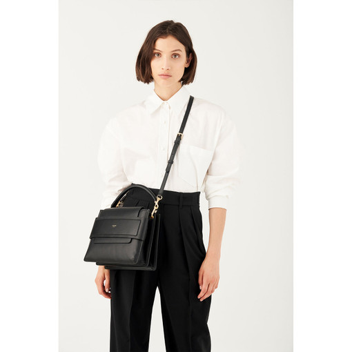 Oroton Elena Medium Tote in Black and Smooth Leather for female