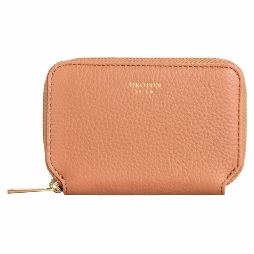 Oroton Lyla Mini 7 Credit Card Zip Wallet in Treacle and Pebble Leather for female