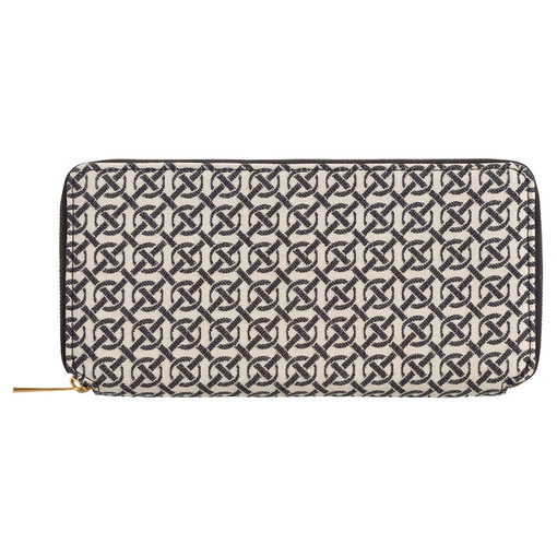 Oroton Celeste Jacquard Slim Book Wallet in Black/Natural and Oroton Signature Jacquard/Smooth Leather for female