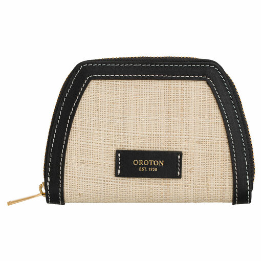 Oroton Camille Straw Small Tapered Wallet in Natural and Natural Straw/Smooth Leather for female