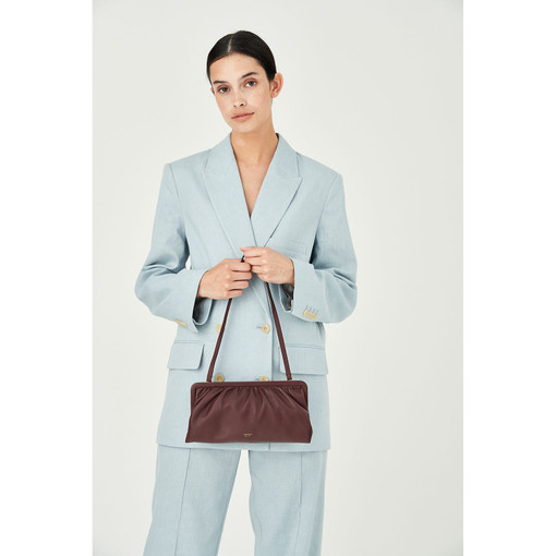 Oroton Celia Long Clutch in Mahogany and Nappa Leather for female