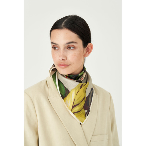 Oroton Vine Floral Scarf in Straw and 100% Silk for female