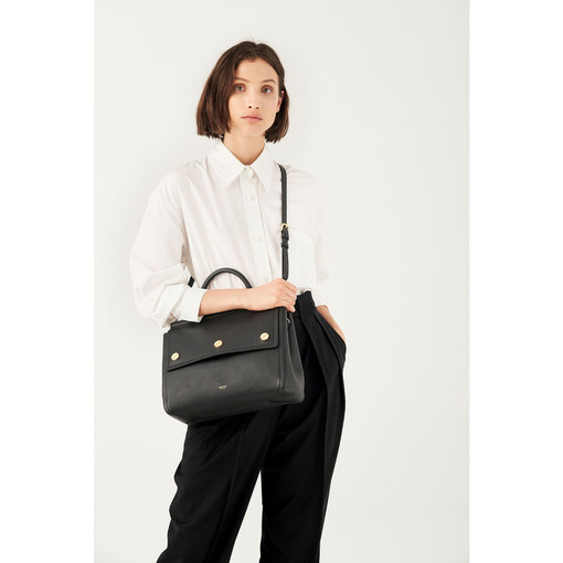 Oroton Bay Satchel in Black and Smooth Leather for female