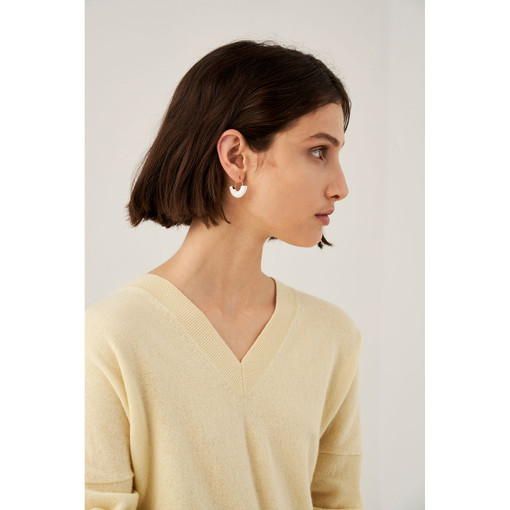 Oroton Emaille Swinging Hoops in Gold/White and Brass Based With Precious Metal Plating/ Enamel for female