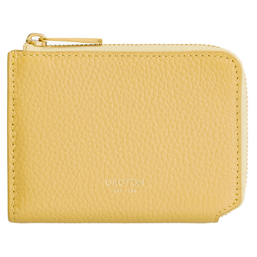 Oroton Anouk 8 Credit Card Zip Coin Wallet in Citron and Pebble Leather for female