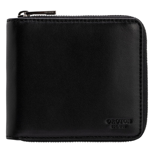 Oroton Oliver 6 Credit Card Small Zip Wallet in Black and Smooth Nappa Leather for male