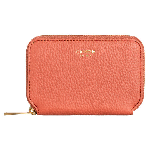 Oroton Lyla Mini 7 Credit Card Zip Wallet in Pumpkin and Pebble Leather for female