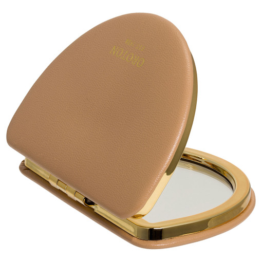 Oroton Olivia Compact Mirror in Toast and Smooth PU for female