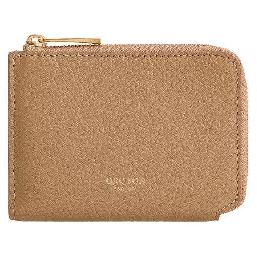 Oroton Anouk 8 Credit Card Zip Coin Wallet in Toast and Pebble Leather for female