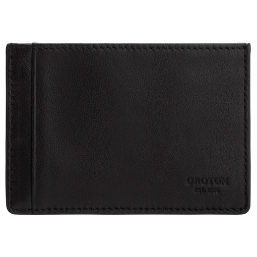 Oroton Oliver Credit Card Sleeve in Black and Smooth Nappa Leather for male
