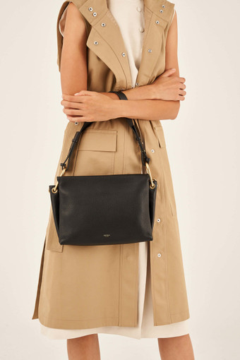 Oroton Lyla Day Bag in Black and Pebble Leather/Smooth Leather for female
