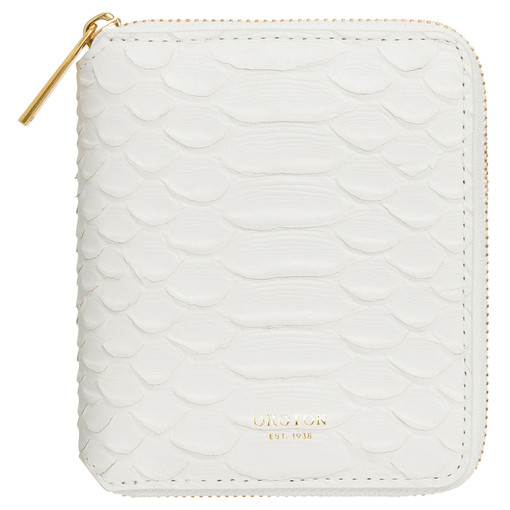 Oroton Muse Texture Small Zip Wallet in White Texture and Snake Embossed Leather for female