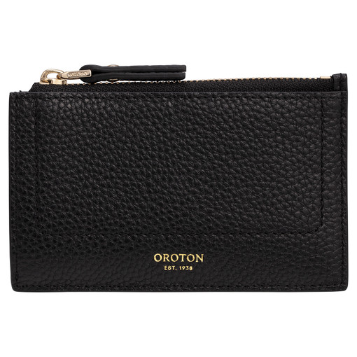 Oroton Lucy 4 Credit Card Zip Pouch in Black and Pebble Leather for female