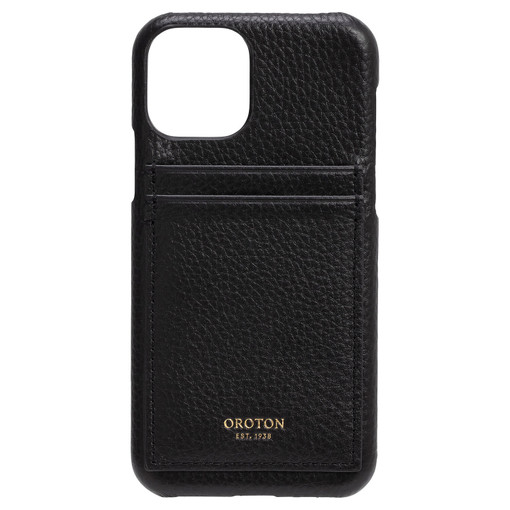 Oroton Lucy IPhone 11 Pro 2 Credit Card Cover in Black and Pebble Leather for female