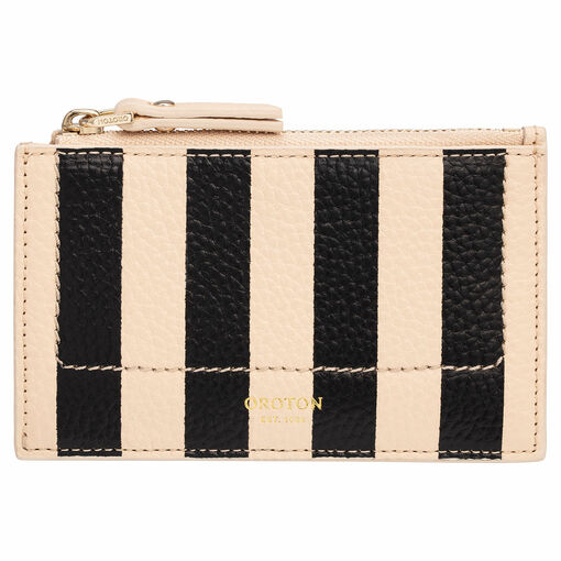 Oroton Lucy Print 4 Credit Card Zip Pouch in Black/Praline and Printed Pebble Leather for female