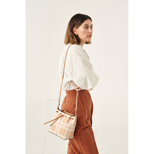 Oroton Harriet Print Small Bucket Bag in Caramel and Print Saffiano PVC/Vachetta Leather Trims for female