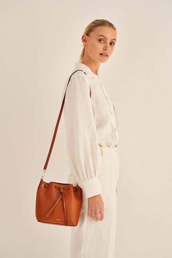 Oroton Harriet Small Bucket Bag in Cognac and Shiny Soft Saffiano for female