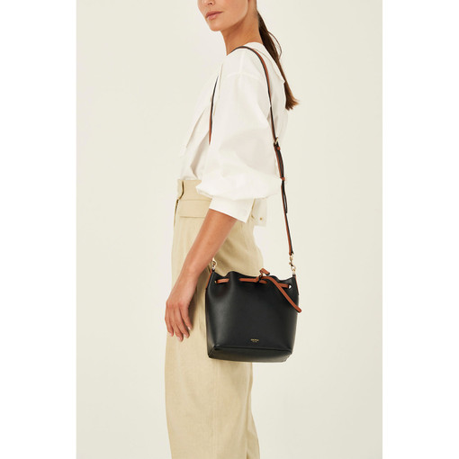 Oroton Harriet Small Bucket Bag in Black and Shiny Soft Saffiano for female