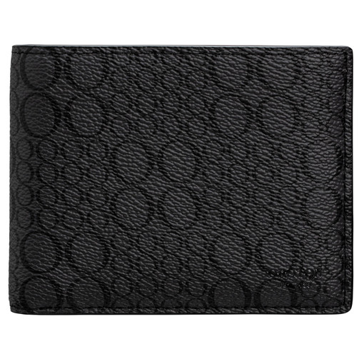Oroton Harry Signet 8 Credit Card Wallet in Charcoal and Print Saffiano Texture PVC for male