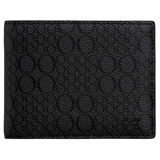 Oroton Harry Signet 12 Credit Card Wallet in Charcoal and Print Saffiano Texture PVC for male